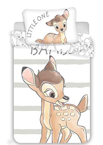 Bambi Parure pour lit Bébé - Housse de Couette 100x135 cm + Taie d'Oreiller 40x60 cm
