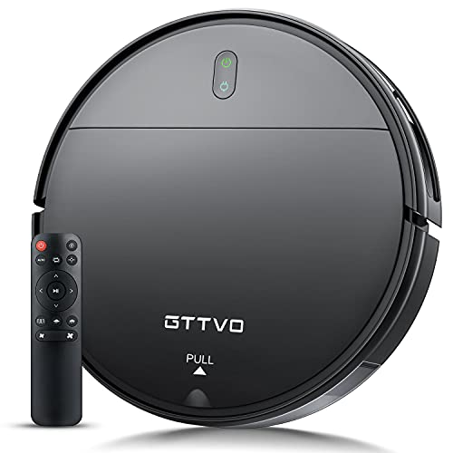 Robot Vacuum and Mop,GTTVO Robotic Vacuum Cleaner,Sweeping & Mopping Robot Vacuum Cleaner with 1400Pa Suction,Zigzag Cleaning Path,Self-Charging,Super-Thin,Ideal for Hard Floor,Pet Hair and Carpet