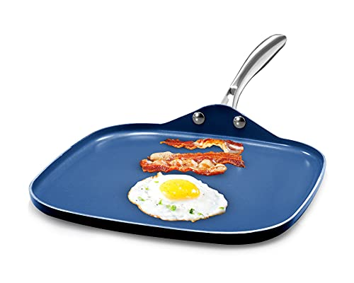 """Granitestone Blue Nonstick 10.5"""" Griddle Pan Flat Grill with Ultra Durable Mineral and Diamond Triple Coated Surface, Stay Cool Stainless-Steel Handle, Oven & Dishwasher Safe, 100% PFOA Free"""