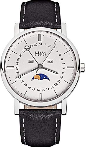 M&M Damen- und Herrenuhr Lederband M11919-442 MOONPHASE 229