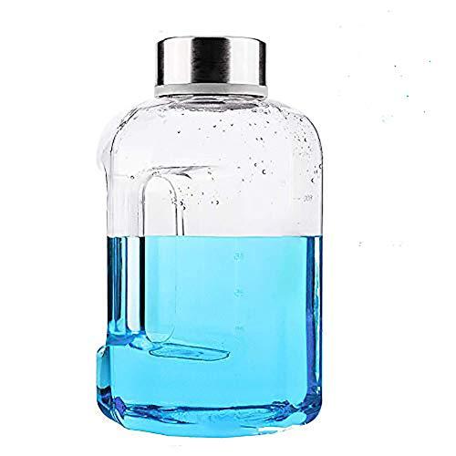 VOLORE Auslaufsichere Trinkflasche (2.2L) Tragegriff Wasser Gallone Ideal BPA Frei, Transparent, Praktisch - Große Drinkflasche für das Laufen, Fitness, Yoga, Im Freien und Camping (Blau)