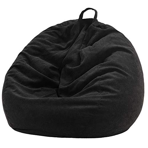 Nobildonna Stuffed Storage Bird's Nest Bean Bag Chair Cover (No Filler) for Kids and Adults. Extra Large Beanbag Stuffed Animal Storage or Memory Foam Soft Premium Corduroy (Black)