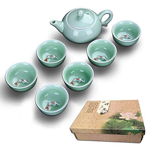 Tassen set Health Tea Set Hochwertiges Porzellan glatte Oberfläche 7-teiliges Set - Teekanne Porzellan Für Geschenk Und Haushalts,Büro