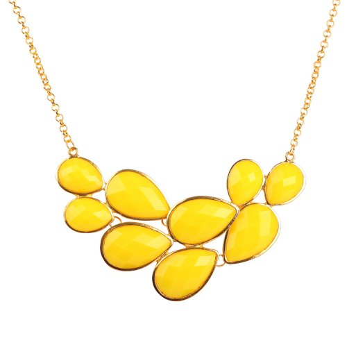 Jane Stone Yellow Bubble Bib Necklace Fancy Chunky Necklace Fashion Jewelry Statement Necklace Evening Party Jewellery(Fn0564-Yellow)