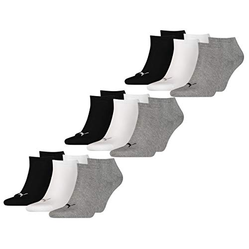 PUMA Unisex Sneakers Socken Sportsocken 9er Pack, 9Paar = grau/weiß/schwarz, 35/38