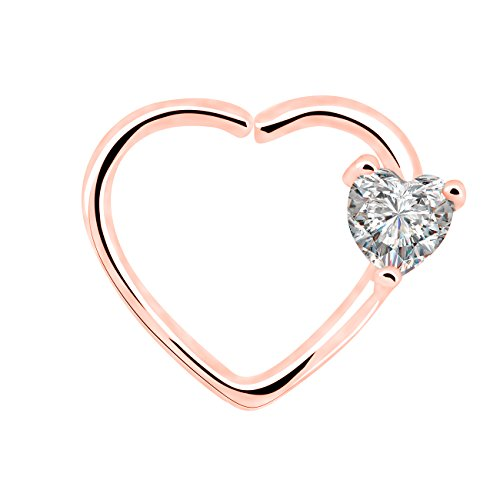 OUFER Body Piercing 18Kt Rose Gold Plated Clear Heart CZ Left Closure Daith Cartilage 16 Gauge Heart Tragus Earrings (Rose Gold)