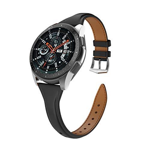 Isabake Correa de Cuero para Samsung Galaxy Watch 46mm/Gear S3 Classic/Gear S3 Frontier para Mujer, Correa de Reloj de 22mm de Ancho con Hebilla de Acero Inoxidable(22mm, Negro)