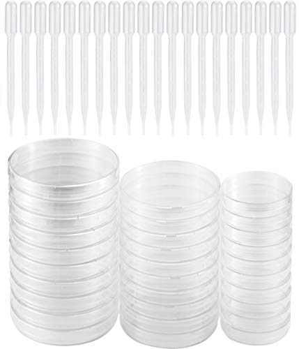 UPlama 30PACK Petri Dish Set with Lids, 10PACK 90mm x 15mm/10PACK 60mm x 15mm/10PACK 100mm x 16mm Sterile Plastic Petri Dish Set with 100 Plastic Transfer Pipettes (3ml) Perfect Kit