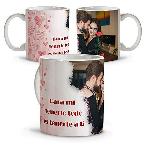 LolaPix Taza con Foto Personalizada. Regalos San Valentin Personalizados. Tazas Personalizadas Interior Color. Taza San Valentin de Cerámica. Corazones