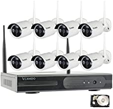 Vcamdo Business CCTV 8CH Outdoor Home Wireless Security Camera System 1080P Dome Bullet Camera Night Vision with HDD Monitor (Bullet with 4TB,No Monitor)