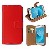 eFabrik Schutzhülle für Samsung Galaxy J3 2017 Tasche (für Galaxy J3 Duos 2017 SM-J330 / J330F) Cover Smartphone Schutztasche Hülle mit Aufstellfunktion & Fächern, Farbe:Rot