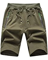 Tansozer Men's Casual Shorts Elastic Waist Comfy Workout Shorts Drawstring Summer Jogger Shorts with Zipper Pockets (Army Green, Medium)