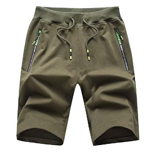 Tansozer Men's Casual Shorts Elastic Waist Comfy Workout Shorts Drawstring Summer Jogger Shorts with Zipper Pockets (Army Green, Small)