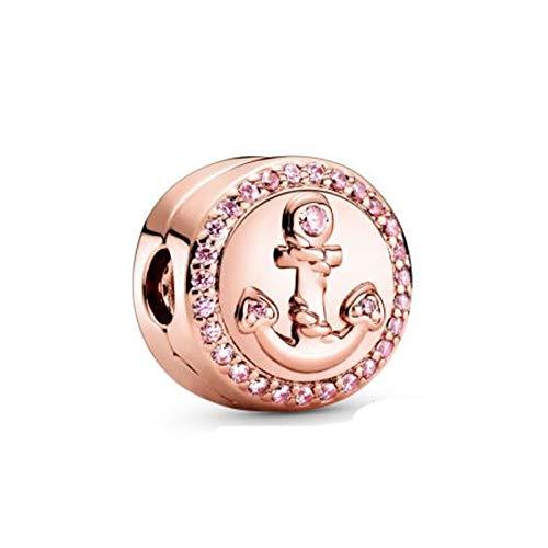 Awdijf 925 Colgante De Plata Esterlina Llegada Brillante Rosa Ancla Clip Encanto Cuentas Pandora Encanto Pulsera Joyería Regalo Exquisito