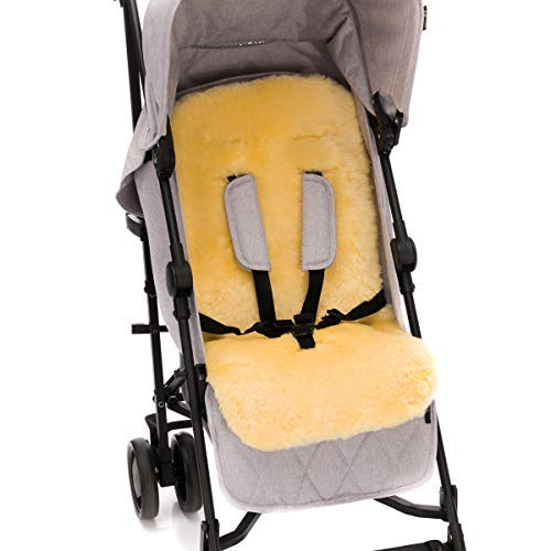 100% Lammfell Auflage für Buggy und Kinderwagen / 5-Punkte-Gurtsytem geeignet 12-36 Monate