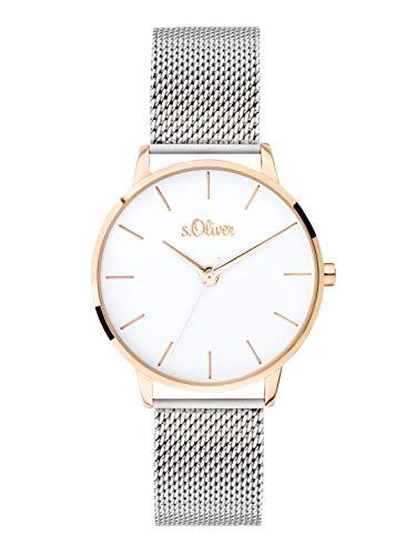 s.Oliver Damen Analog Quarz Uhr mit massives Edelstahl Armband SO-3701-MQ