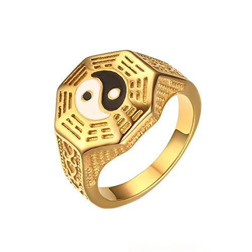 joielavie joyas anillo Yin Yang ocho Trigram símbolo chapado en oro Religión étnicos estilo fresco fundición regalo para hombres