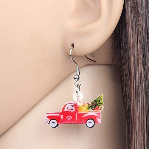 EHXWL Acryl Weihnachtsbaum Auto Ohrringe Tropfen Baumeln Festival Dekoration Schmuck Für Frauen Mädchen Kind Teen Charms Geschenk Zubehör