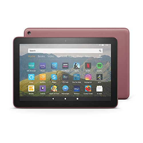Fire HD 8 Tablet, 8' HD display, 64 GB, Plum - with Ads, designed for portable entertainment