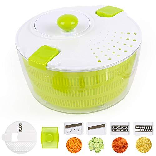 Edaygo 2 in 1 Küchengerät Salatschleuder Gemüseschneider Zerkleinerer Salatschüssel Salattrockner Gemüsehobel Zwiebelschneider Pommesschneider Kartoffelschneider 4 L