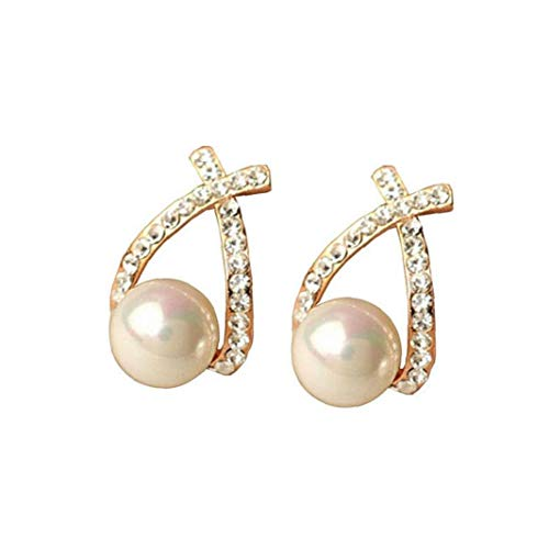 Gold Crystal Stud Earrings Elegant Pearl Earrings Studs for Woman Wedding Jewelry Bridal Accessories Cosmetic Part