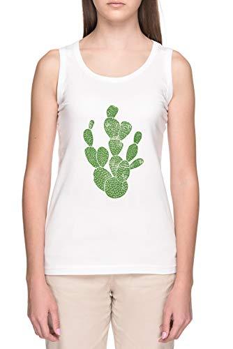 Linograbado Cactus # 1 Mujer Blanco Tank Camiseta Women's White Tank T-Shirt