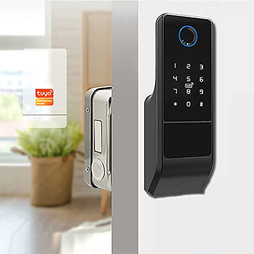 NBXLHAO 5 In 1 Biometric Fingerprint Lock, Smart Card - Digital Password - Key- Remote App(Tuya App), Water Proof/For Door Thickness (30~80mm)