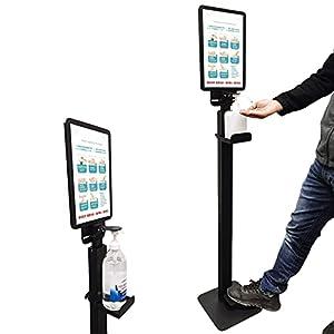 dispenser gel disinfettante mani Supporto per dispenser di disinfettante per le mani con cartello A4, Azionamento a pedale Porta sapone per le mani, Touchless Stazioni di sanificazione per la casa Neg