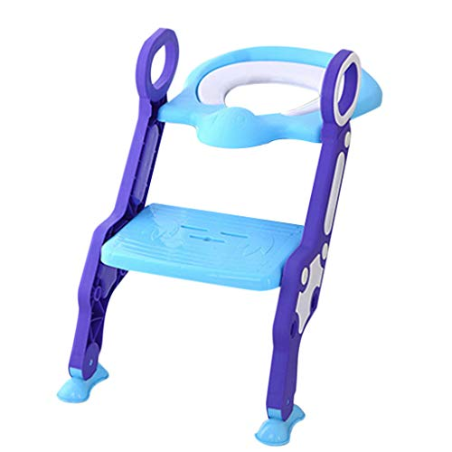 Ikevan Outdoor Portable Children Toilet Ring Baby Travel Potty Folding Chair Fodable Step Stool for Kid Boy Girl (Blue)