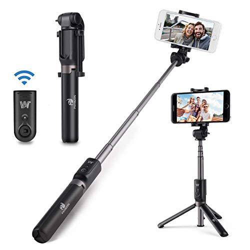 PATISZON Palo Selfie Trípode Bluetooth, Hongyifa Selfie Stick con Control Remoto, 360°Rotacion, para iPhone, Samsung, Huawei ect.