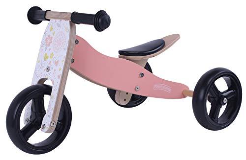 MATTI Holzfahrrad 2 in 1 Dreirad und Laufrad aus Holz, Kinderfahrzeug mit Gummiräder, Farbe:rosa