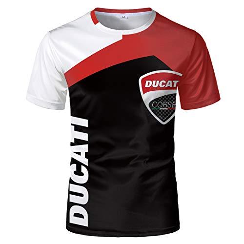 Herren Sommer Rundhalsausschnitt Kurzarmhemd Ducati Digitaldruck Schwarz-Weiß Kontrastfarbe Pullover T-Shirt Wild Breathable Sports Casual Kurzarmhemd (1,XL)