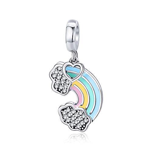Ciondolo a forma di cuore arcobaleno in argento Sterling 925 con perline colorate per braccialetti a catena a serpente