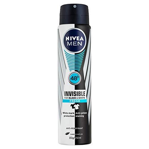 NIVEA MEN Invisible Black and White Fresh Aerosol Antiperspirant Deodorant Spray, 250 ml