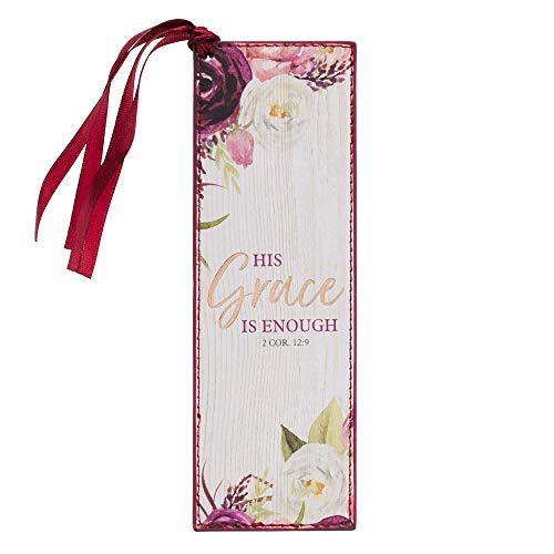 Presentes Arte cristã Borgonha Faux Leather Bookmark | Sua graça é suficiente - 2 Coríntios 12: 9 verso da Bíblia marcador inspirado por Mulheres w Satin Ribbon Tassel /