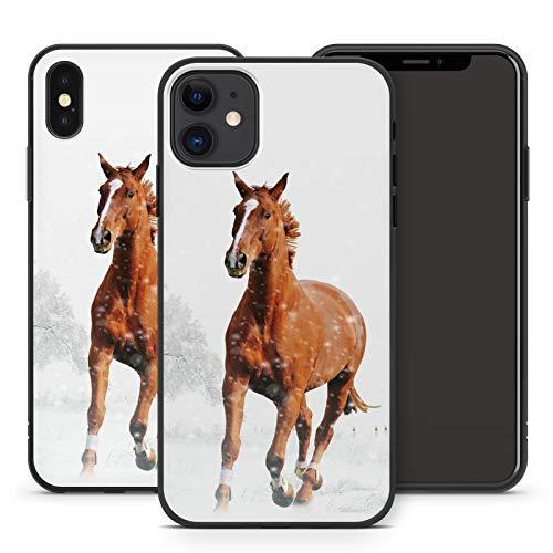 Handyhülle Pferd für iPhone Apple Silikon MMM Berlin Hülle Pferde Natur Horse Reiten Pony Einhorn, Kompatibel mit Handy:Apple iPhone 5 / 5S / SE, Hüllendesign:Design 3   Silikon Schwarz