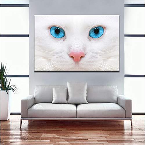 Katzengesicht und Saphiraugen Bild Poster und Drucke Wandkunst Leinwand Gemälde Wanddekoration Wohnzimmer (ohne Rahmen) 30x40CM