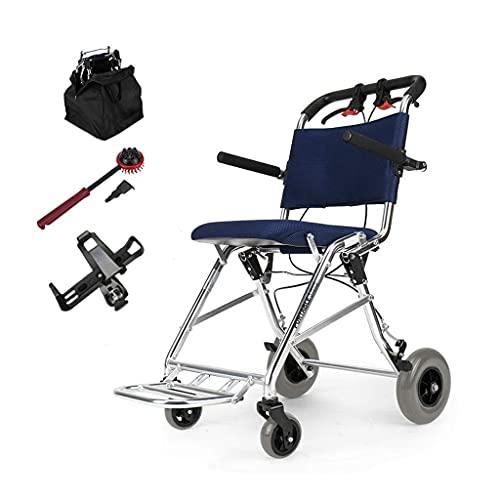 Silla de Ruedas Ultraligera Plegable de 7,4 kg con Frenos auxiliares Silla de Viaje de tránsito portátil para Ancianos discapacitados y discapacitados en una Bolsa
