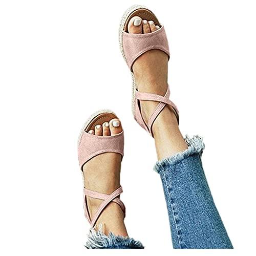 Ghemdilmn Sandalias de mujer de verano con plataforma y corrección de los dedos de los pies, sandalias de tacón redondo, sandalias para mujer, sandalias informales, sandalias, color, talla 40 EU