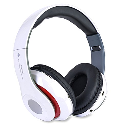 Altatac Bluetooth Rechargeable Over Ear Headset Foldable Wireless Wired Headphones with Memory Card Slot Built-in FM Tuner Microphone Audio Cable for Phone TV Computer MP3 Player - White
