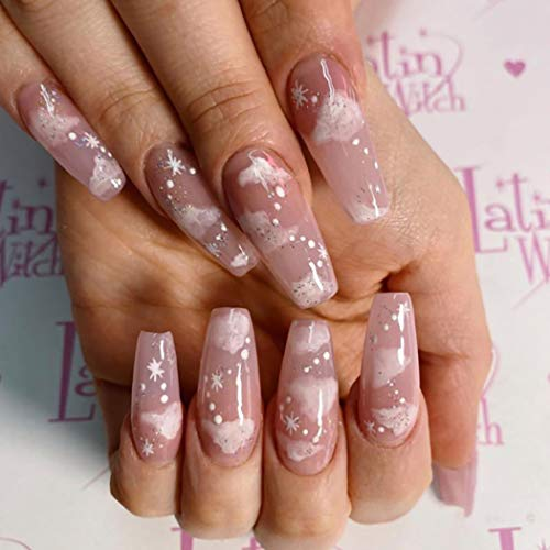 Gangel Long Coffin False Nails Bling Fake Nail Full Cover Pink White Cloud Fake Nails White Snow Acrylic Press on Nails Party Daily Wear Christmas Gifts for Women and Girls 24Pcs