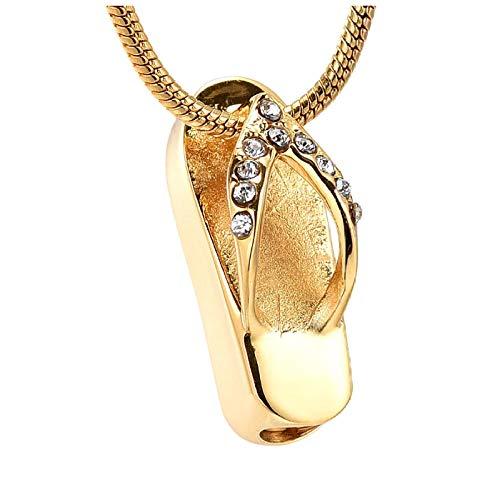 wcylj Collar de Chanclas con Incrustaciones de Piedra Transparente, Accesorios para Mujer, joyería, Soporte para Cenizas de Memoria eterna, Colgante de cremación de Recuerdo