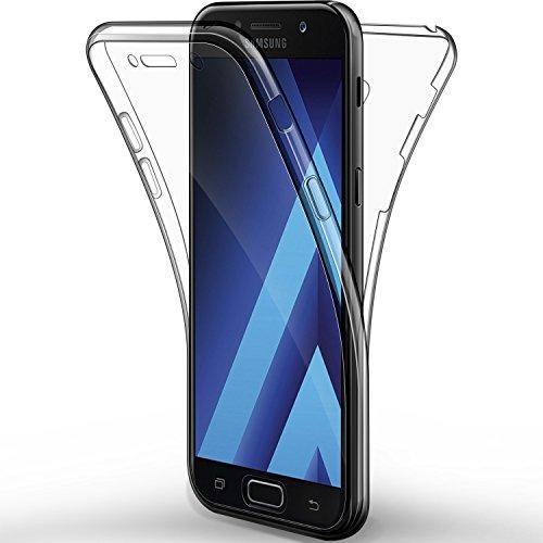"ALSATEK Coque Etui Galaxy A5 2017, Leathlux Silicone Gel Case Avant et Arrière Intégral Full Protection Cover Transparent TPU Housse Anti-Rayures pour Samsung Galaxy A5 2017 5.2"""