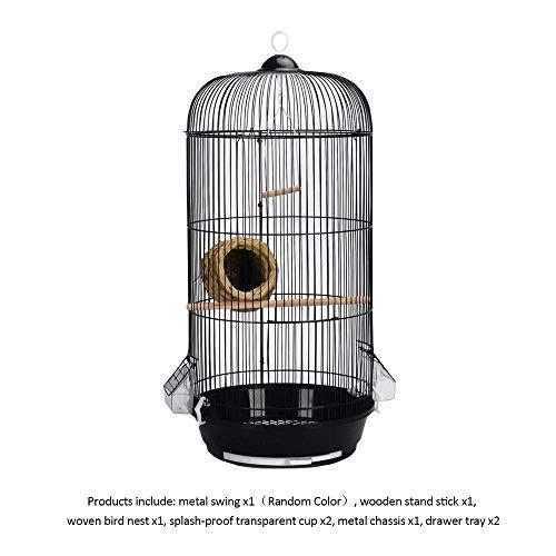 TIKEN Agapornis Jaula para Pájaros Redonda Metal Bird Villa Jaula para Pájaros Decorativa Interior Al Aire Libre,Black