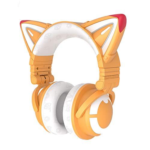 YOWU Auriculares Fox Spirit Edición Limitada Inalámbrico Plegable para Juegos con SUSU Exclusiva Voz & Bunny Caso, Iluminación personalizable y Efecto a través de APP, 2 en 1 Tipo-C Cable de audio de carga