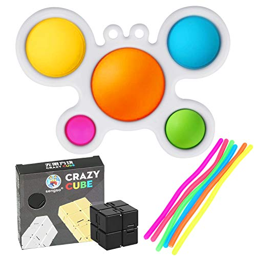 Simple Dimple Fidget Toy, Popper Toys with 1 Infinity Cube Fidget Toy and 6 pack Calming Stretchy Strings,Early Educational Toddler Baby Toy, ADHD Sensory Fidget Toys ,Stress Relief Hand Toys Gifts