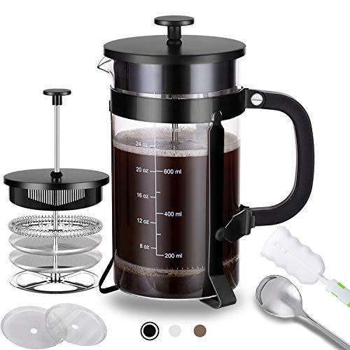 Cafetera de prensa francesa (34 onzas) con 4 filtros – Acero inoxidable 304 duradero, resistente al calor, vidrio borosilicato prensa, sin BPA, negro