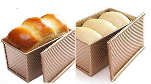 Bakeware – Loaf Pan w Cover Bread Toast Mold Non Stick Gold Aluminium – BB03