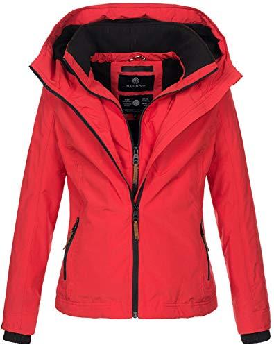 Marikoo Designer Damen Übergangs Jacke leicht gefüttert Kapuze kurz B659 [B659-Erdbeer-Rot-Gr.L]