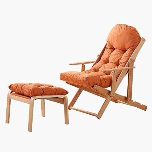 YLCJ PHTW klapstoel Balkon ligstoelen Massief hout stoelen Vouwstoelen voor lunch pauze Luie vrije tijd stoelen Strandstoelen A ++ (Kleur: GRIJS, Afmetingen: Zonder kruk) With Stool ORANJE